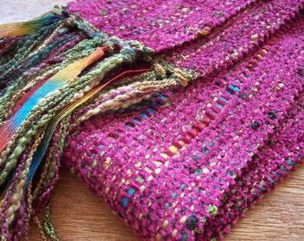 handwoven burgundy, marsala scarf long