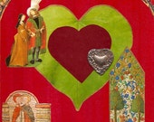Medieval Valentine Collage, Original Collage, Simple Collage on Wood, Valentine, Lovers, Hearts, Medieval Art, Renaissance Art, Middle Ages