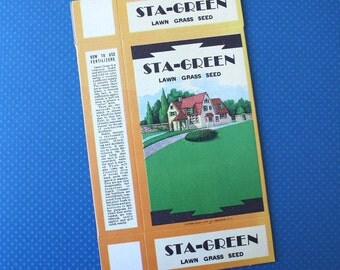 Vintage Sta-Green Lawn Grass Seed Box