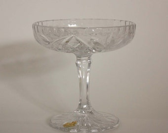 Handcut Lead Crystal Pedestal Compote with Rose Pattern