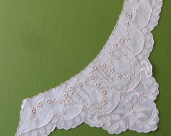 Antique Pink Embroidery and Lace Floral Collar or Accent Piece