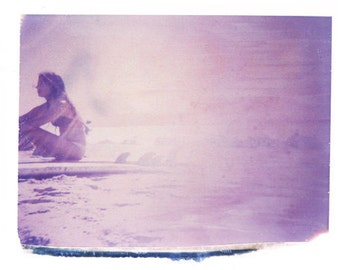 Surfing Art Print Beach Polaroid Prints Surf Purple Montauk Surfboard Vintage Art 11x14