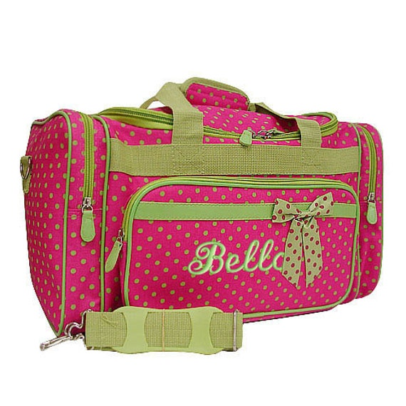 Personalized Duffle Bag Hot Pink Lime Green Polka Dots  DANCE GYM Luggage
