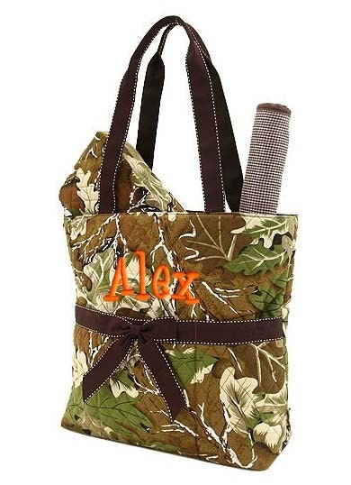 personalized diaper bag camouflage camo quilted brown by parsik93