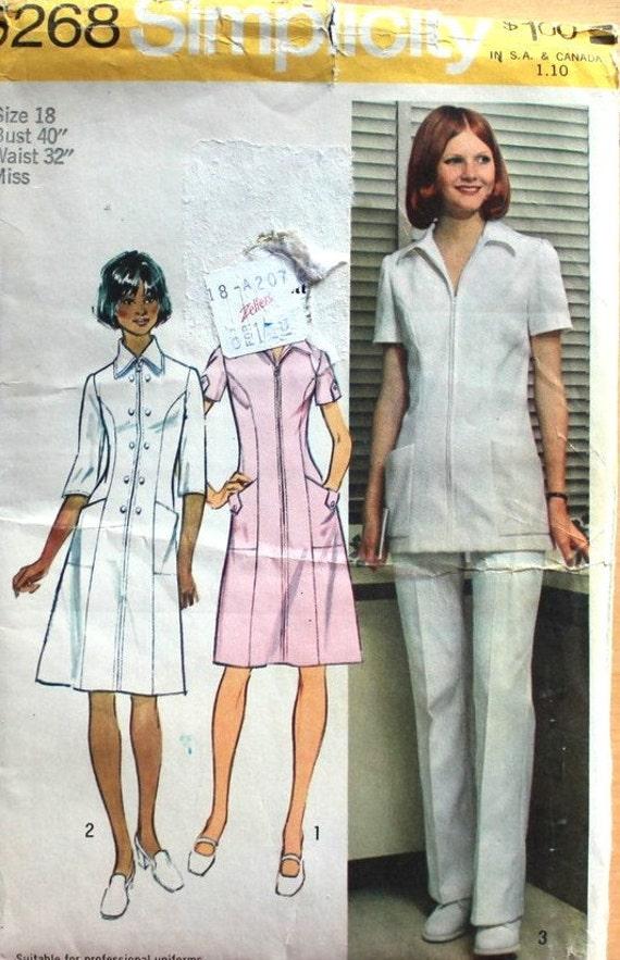 UNCUT Vintage Uniform Dress or Tunic and Pants Size 20.5 Bust 43