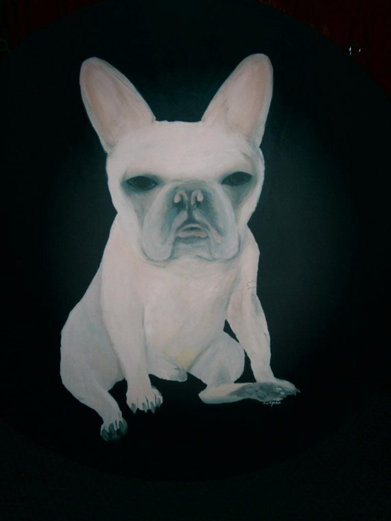 Original Bulldog Painting French Bulldog Acrylic on Round Wood Recycled Coffee Table Top