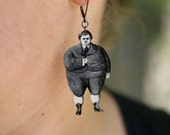 Plump Joe Earrings - Chubby Boy - Silly Jewelry - Vintage Print - Back to School - Funny - Quirky - Shrink Plastic - Plastic Earrings - Boy