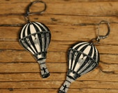 Beautiful Balloon Earrings - Balloon Jewelry - Hot Air Balloon - Shrinky Dink - Shrink Plastic - Black and White- Plastic Jewelry - Balloons