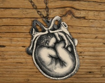 Uterus and Fetus Necklace - In Utero - Fetus Necklace - Fetus Jewelry - Fetus - Midwife  - Birth Gift - Shrink Plastic-Black and White Print