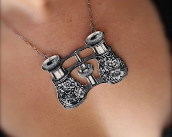 I Spy Binoculars Necklace - Opera Glasses - Shrink Plastic - Victorian Print - Black and White Image - Binoculars - I Spy - Gift - Opera