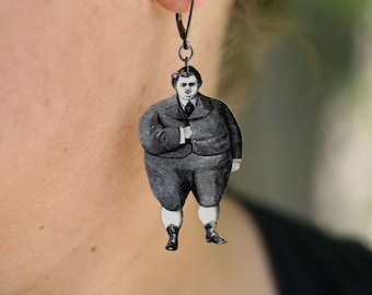 Plump Joe Earrings - Chubby Boy - Silly Jewelry - Vintage Print - Back to School - Funny - Quirky - Shrink Plastic - Plastic Earrings - Boy