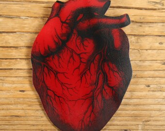 Red Anatomical Heart Brooch - Heart - Red - Anatomical - Anatomy - Mens Brooch - Shrink Plastic - Creepy - Punk - Rocker - Heart Jewelry