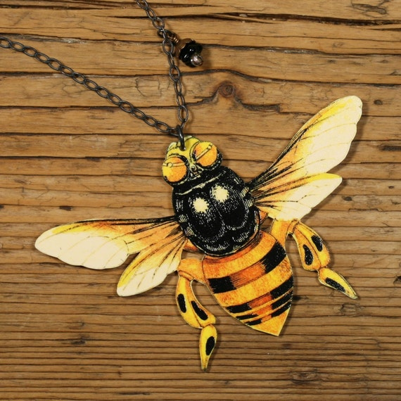 Black and Yellow  Bee Necklace - Colored Bee Necklace - Colored Bee Jewelry - Bee Jewelry - Bee Necklace - Yellow - Bee - Shrink Plastic