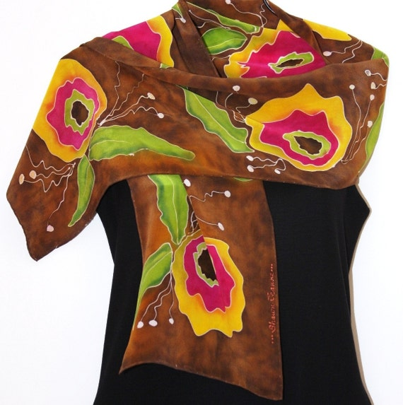 Wild Poppies    Handpainted Silk Scarf    Golden Yellow Brown and Pink