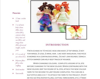 Crochet Pattern: Freya Fairy Amigurumi Doll, 7.5 inches tall, original pattern by The Silver Hook