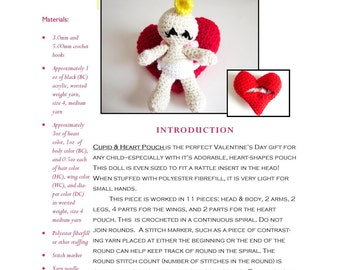 Intermediate Amigurumi Crochet Pattern:  Valentine Cupid Cherub & Heart Pouch using Worsted Weight Yarn - Original Design by The Silver Hook