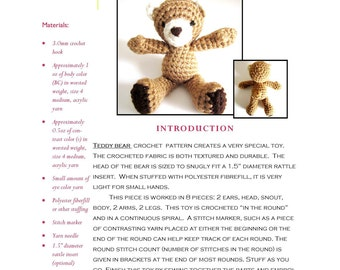 Easy Amigurumi Crochet Pattern: Teddy Bear Toy Doll using Worsted Weight Yarn, Sized for Rattle Insert - Original Design by The Silver Hook