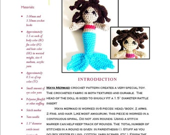 Intermediate Amigurumi Crochet Pattern: Maya Mermaid Doll or Rattle in Worsted Weight Yarn- Original Design by The Silver Hook