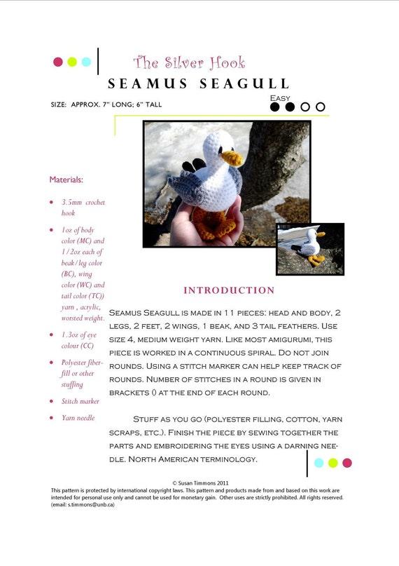 Easy Crochet Bird Pattern: Seamus Seagull Amigurumi Toy in Worsted Yarn PDF- Designed by The Silver Hook