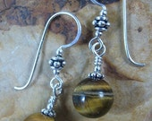 Gemstone Earrings ~ Tigereye Earrings ~ Sterling Silver Earrings ~ Handmade Earrings