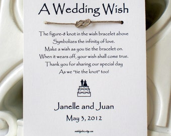 Infinity Love Knot - A Wedding Wish with Bride and Groom on a Cake - Wish Bracelet Wedding Favor Custom Made for You