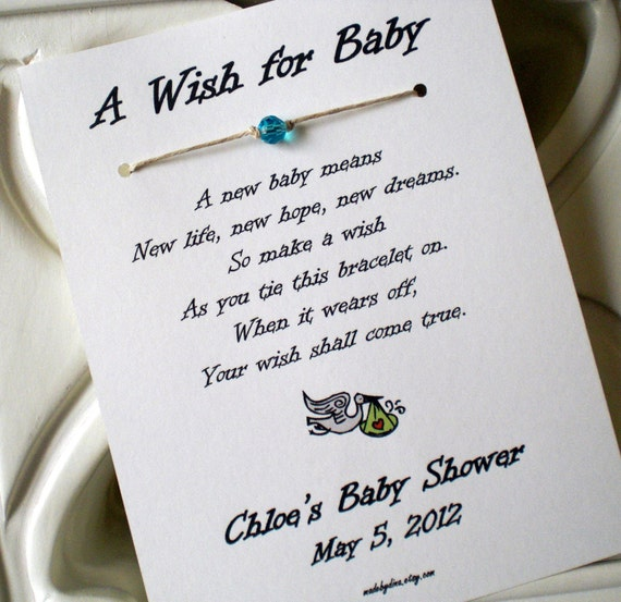 Do Baby Showers Have Wishing Wells ~ A wish for baby bracelet party favor custom made