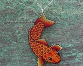 Traditional Japanese Tattoo Koi Fish necklace bright yellow orange red and silver plated chain