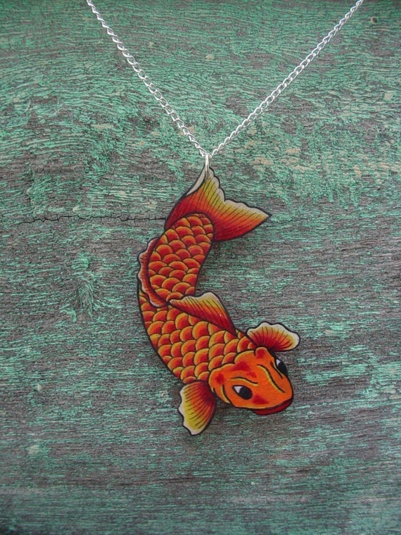 Traditional Japanese Tattoo Koi Fish Necklace Bright Yellow