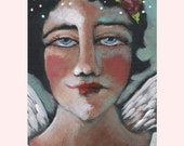 Original Soulful Angel With A Pink Rose Folk Art Painting