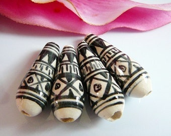 Vintage .. Beads, Black, Cream Glazed Ceramic Oblong