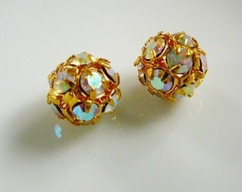 8mm Czech Rhinestone Beads, Disco Ball Clear AB Bead gold tone jewelry supplies