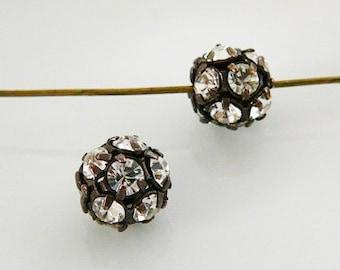 8mm Czech Rhinestone Disco Ball Clear Bead, Ant. Copper Frame