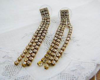 Vintage .. Rhinestone Earrings, Czech, Dangle, Clear, pierced, vintage bride