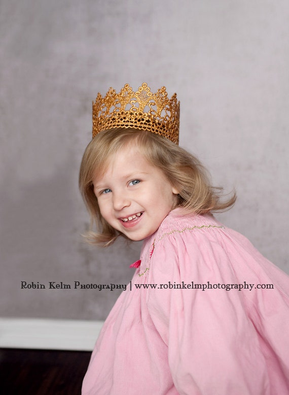 Vintage Inspired Gold or Silver Lace Crown/Tiara newborn, baby or child photography prop/birthday accessory/Keepsake