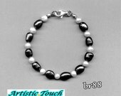 Pearl bracelet - 7.5mm black baroque and 5mm white potato continuous pearl bracelet with sterling silver clasp