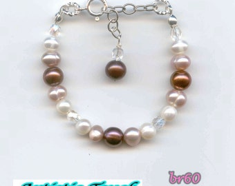 Baby's pearl bracelet - 6 in child's adjustable bracelet with white,pink and chocolate freshwater pearls, christening pearl bracelet, bridal