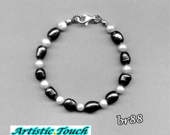 Pearl bracelet - 7.5mm black baroque and 5mm white potato continuous pearl bracelet with sterling silver clasp, pearls bracelets