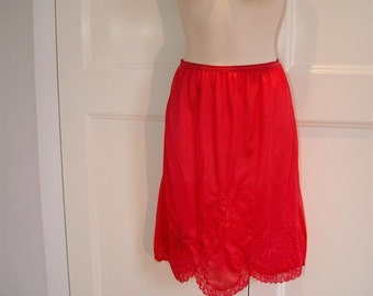 Vintage 1950s Red Half Slip with Dancing Ballerinas, Lacy Scalloped Hem
