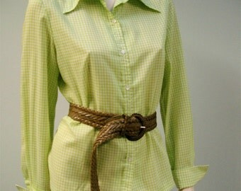 Vintage Gingham Blouse Ivan Kafoury Designs Shirt Green and White 1970s