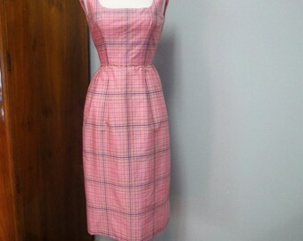 Vintage 1960s Wiggle Dress Cotton Candy Pink Silk Taffeta Plaid Petite