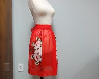 Vintage Christmas Apron, Sheer Red Nylon Chiffon Poinsettia and Holly Berry Hanky Pockets