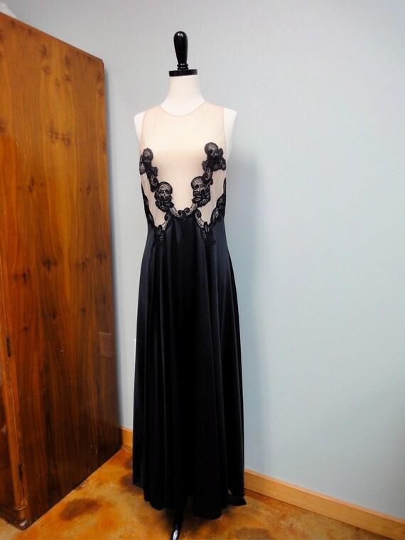 Sheer Nude and Black Vintage Nightgown Full Sweep Hem FORMFIT ROGERS Large