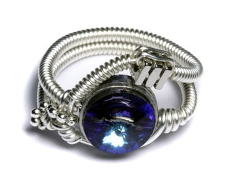 Cyberpunk Jewelry - Ring - Bermuda Blue Svarovski Crystal