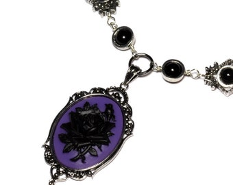 Steampunk Goth Jewelry - Necklace - Purple and Black Rose Cameo -  Black Onyx - Silver tone