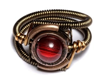 Steampunk Jewelry - Ring - Red