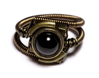 Onyx ring, Steampunk Jewelry - Ring - Black Onyx