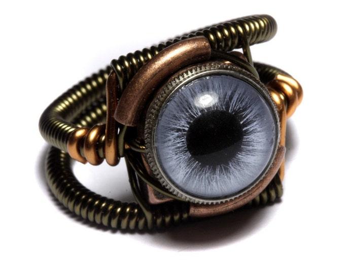 Eyeball ring, Blue taxidermy glass Eye,Steampunk Jewelry