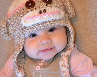 Girl Sock Monkey Hat with Flower and Top Pom Pom - Pink - All Sizes - Newborn to Adult