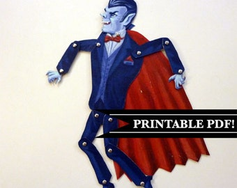 Printable PDF Retro Dracula Vampire Paper Puppet Set in Red Cape for Halloween Party, Paper Play Blue