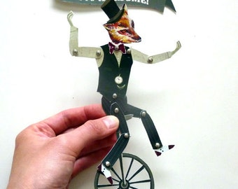 DIY Fox on Unicycle Paper Puppet Set Printable PDF For Gift Giving for Him, for Dad, for Grad Gray, Stripes
